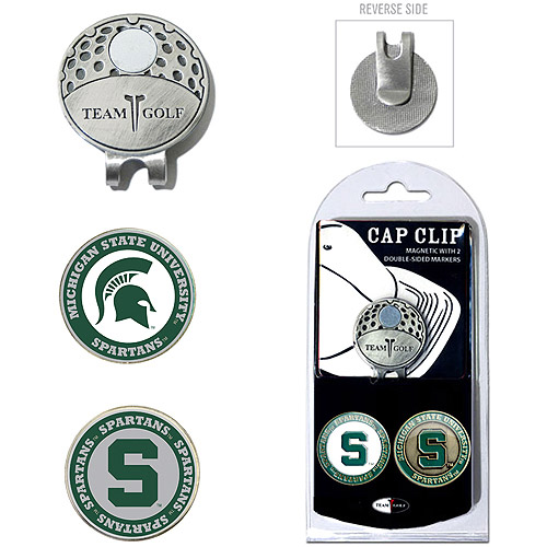 Team Golf NCAA Michigan State Cap Clip With 2 Golf Ball Markers