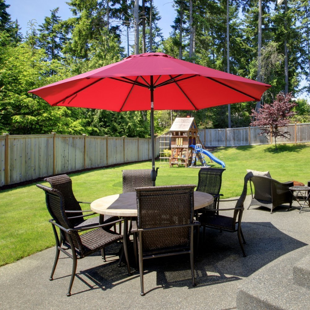 Image of Abba Patio 11-Ft Patio Umbrella with Push Button Tilt and Crank, 8 Steel Ribs, Dark Red
