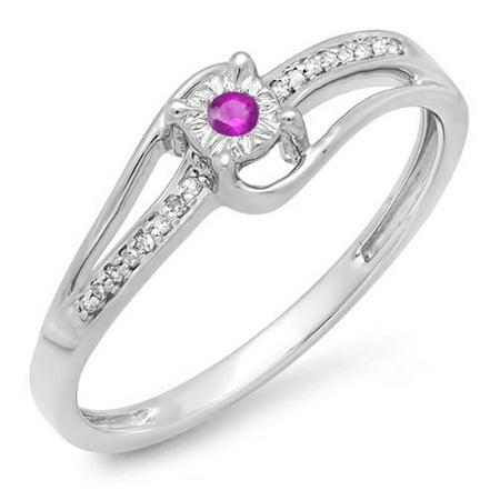 Dazzlingrock Collection 10K Round White Diamond & Pink Sapphire Wave Ladies Bridal Promise Engagement Ring, White Gold, Size 7 Pink Sapphire Wave