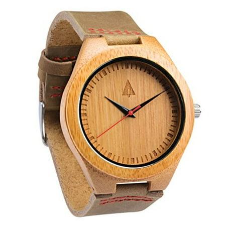 a94820e9ea treehut - Men s Wooden Bamboo Watch with Genuine Brown Leather Strap Quartz  Ana - Walmart.com