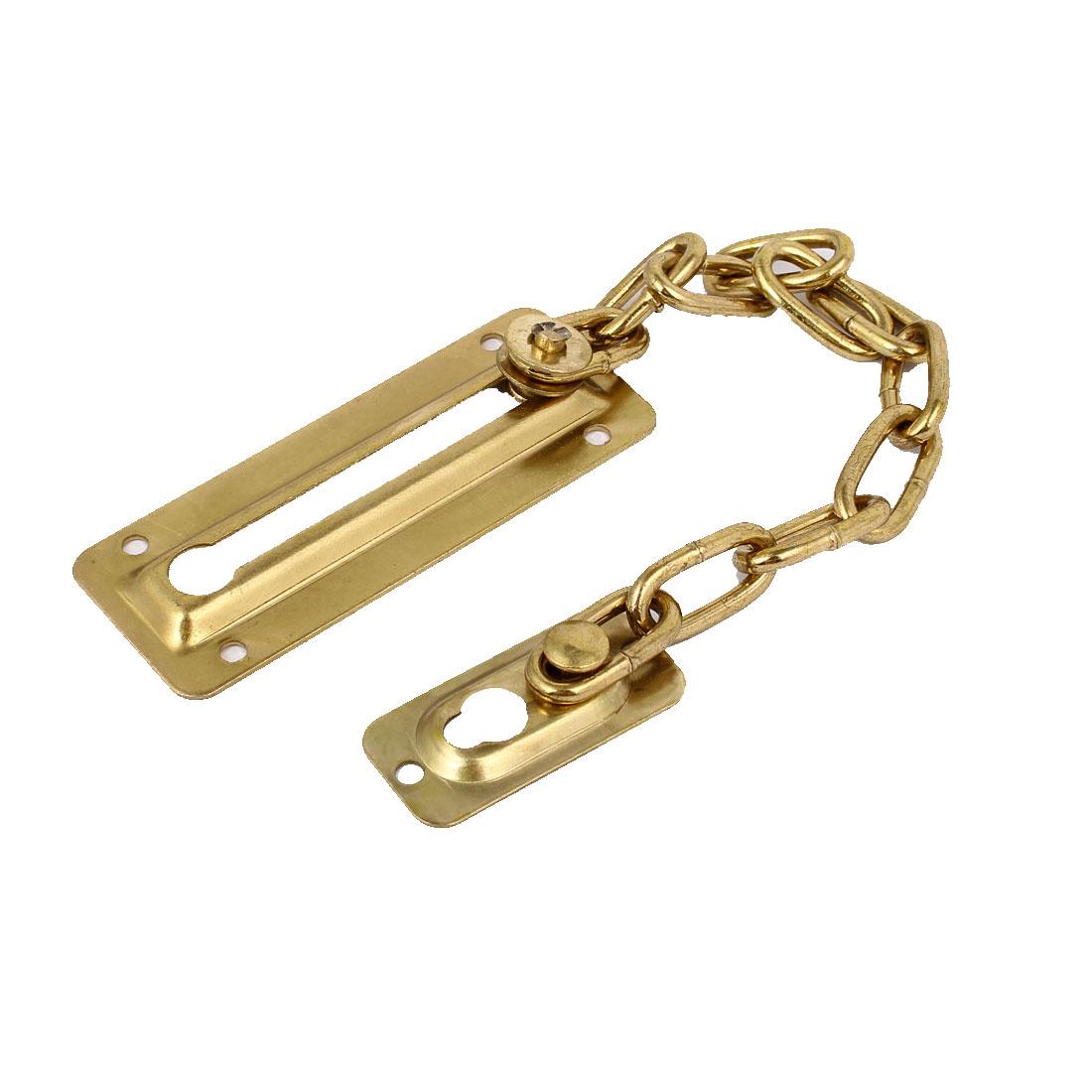 Home Office Door Metal Security Chain Guard  Bolt Lock Brass Tone