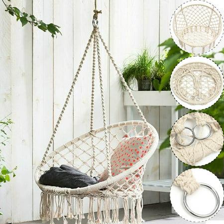 260LB  Indoor Hanging Hammock Cotton Woven Rope Wooden Bar Swing Patio Chair Seat Garden 47.2