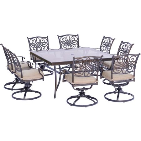 """Image of """"Hanover Outdoor Traditions 9-Piece Dining Set with 60"""""""" Square Glass-Top Table and 8 Swivel Rockers"""""""