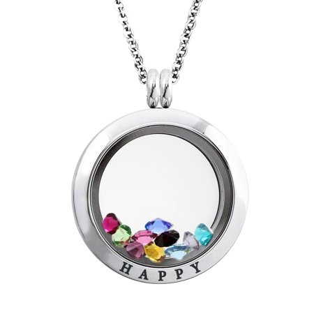 25 MM Stainless Steel Happy Engraved Floating Glass Charm Locket Pendant Necklace