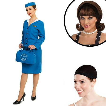Stewardess Halloween Costumes (Retro Glam Airline Stewardess Adult Costume)