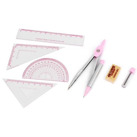 Unique Bargains Stationery Ruler Divider 7 in 1 Measuring Drafting Tool Set Pink Clear