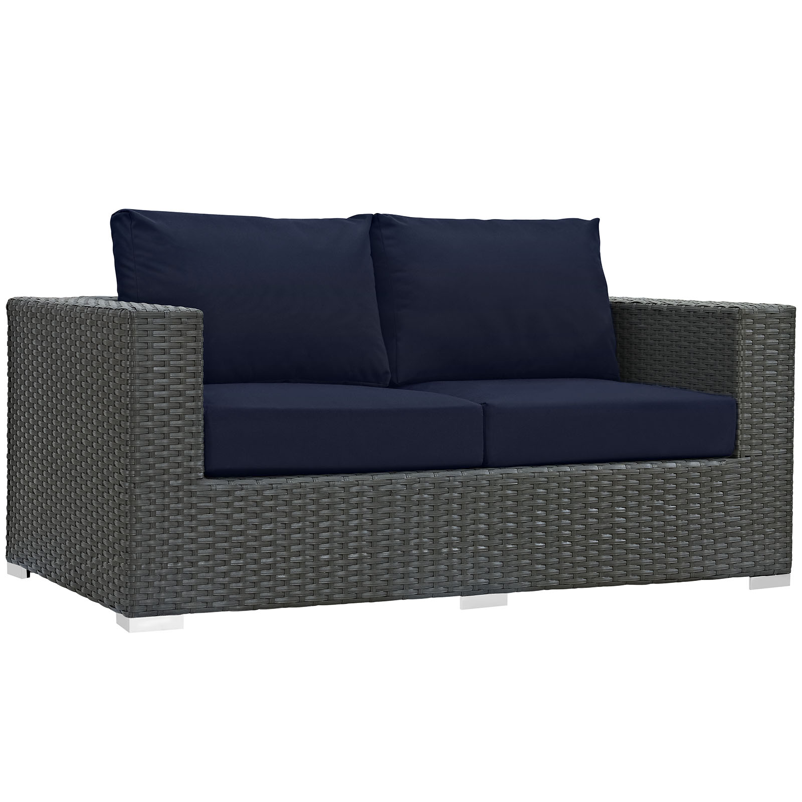 Modern Contemporary Urban Design Outdoor Patio Balcony Loveseat Sofa, Navy Blue, Rattan