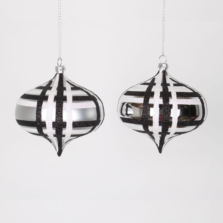 Christmas Tree Shop Connecticut: 4ct Silver W/ Black & White Glitter Plaid Shatterproof