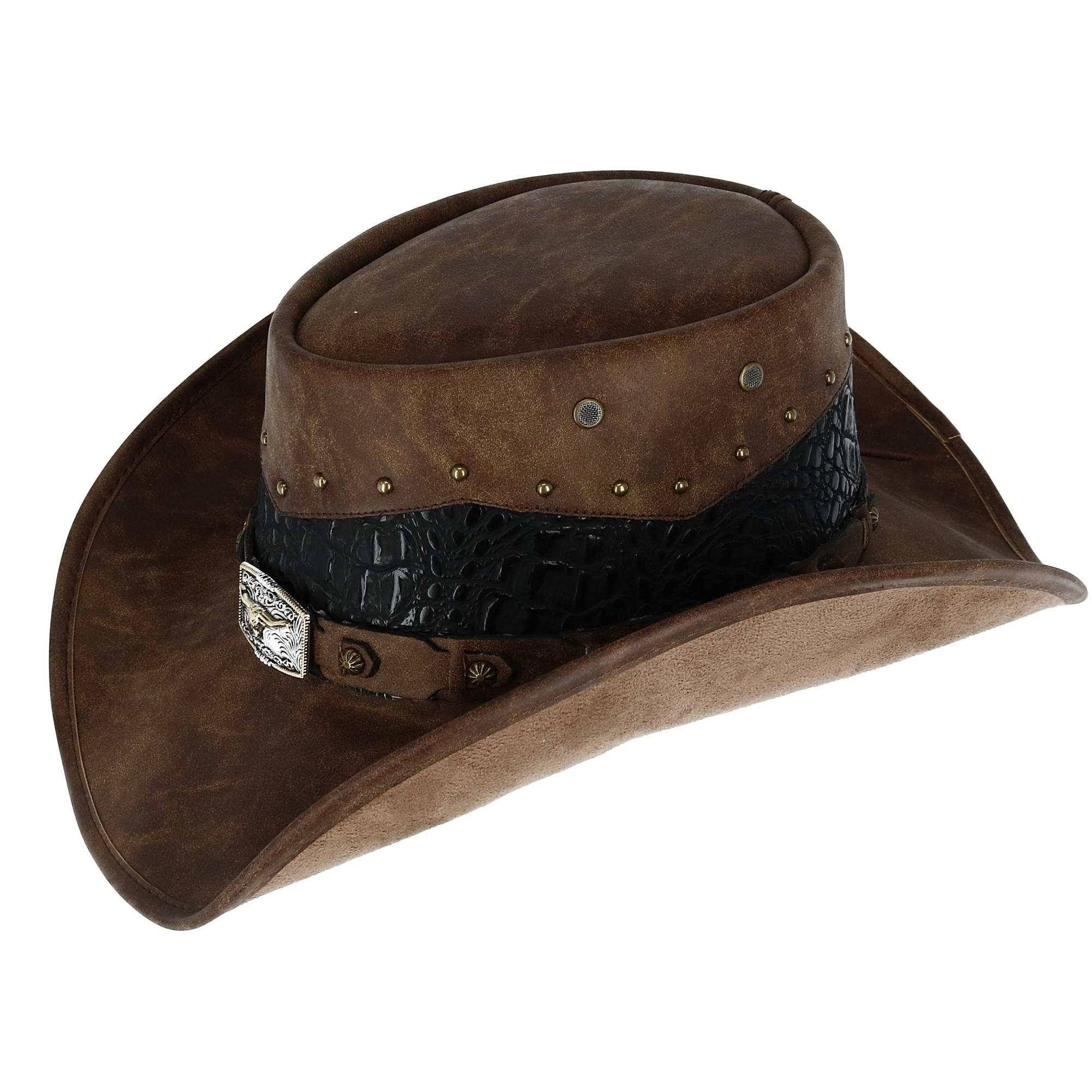 Kenny K Men s Faux Leather Western Hat with Medallion Detailed ... b66513acd4e