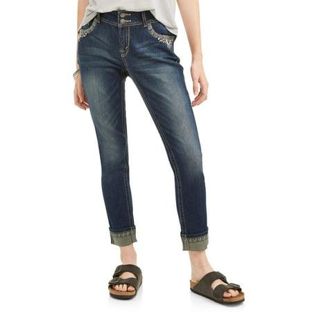 Wallflower Juniors' Curvy Embellished Pocket Ankle Jeans w/ Rolled hem - Embellished Back Pocket Jean