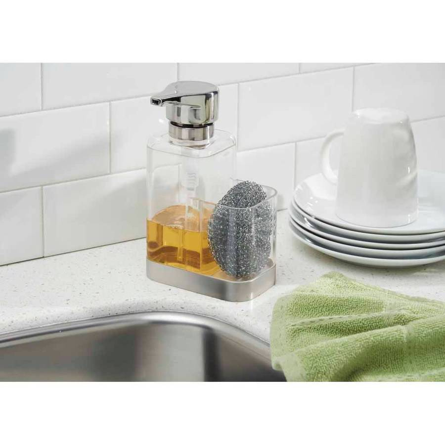 InterDesign Bruschia Soap Pump Caddy, Clear/Brushed