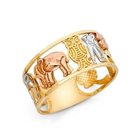 Clover Elephant Owl Horseshoe Ring 14k Yellow White Rose Gold Good Luck Charm Band Fancy (Owl Face Ring)
