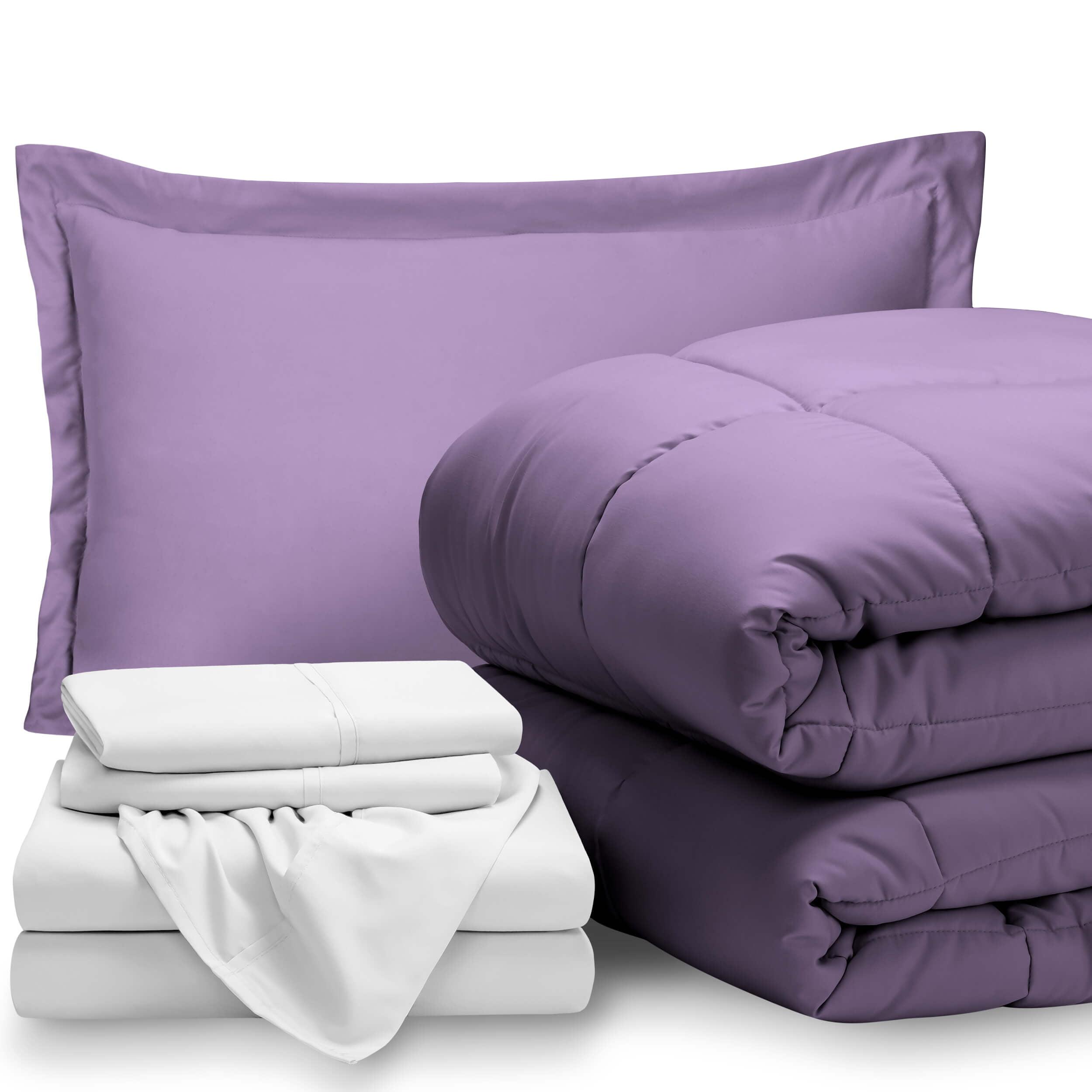 Bare Home 5 Piece Bed In A Bag Twin Xl Comforter Set Lavender Sheet Set White Walmart Com Walmart Com