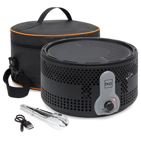 Best Choice Products 16in Portable Electric Tabletop Charcoal BBQ Grill for Indoor and Outdoor Cooking w/ Travel Bag, Tongs