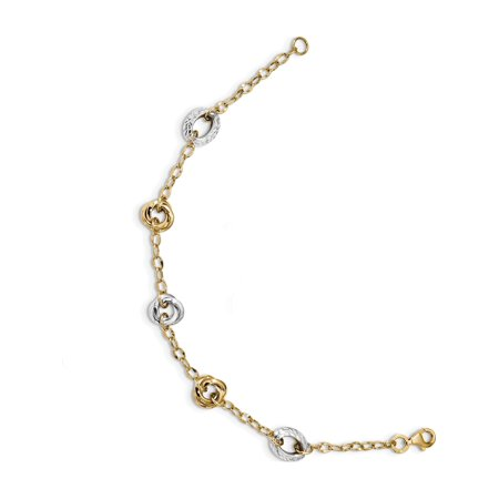 14K deux tons d'or taille diamant 7,25 pouces Bracelet - image 1 de 3