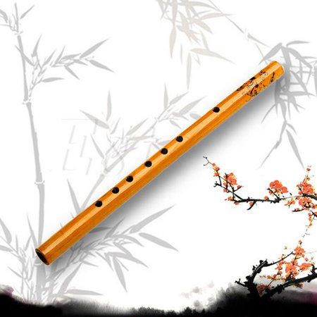 Traditional Long Bamboo Flute Clarinet 7 Holes 9.4inch for Music Lover and Beginner -