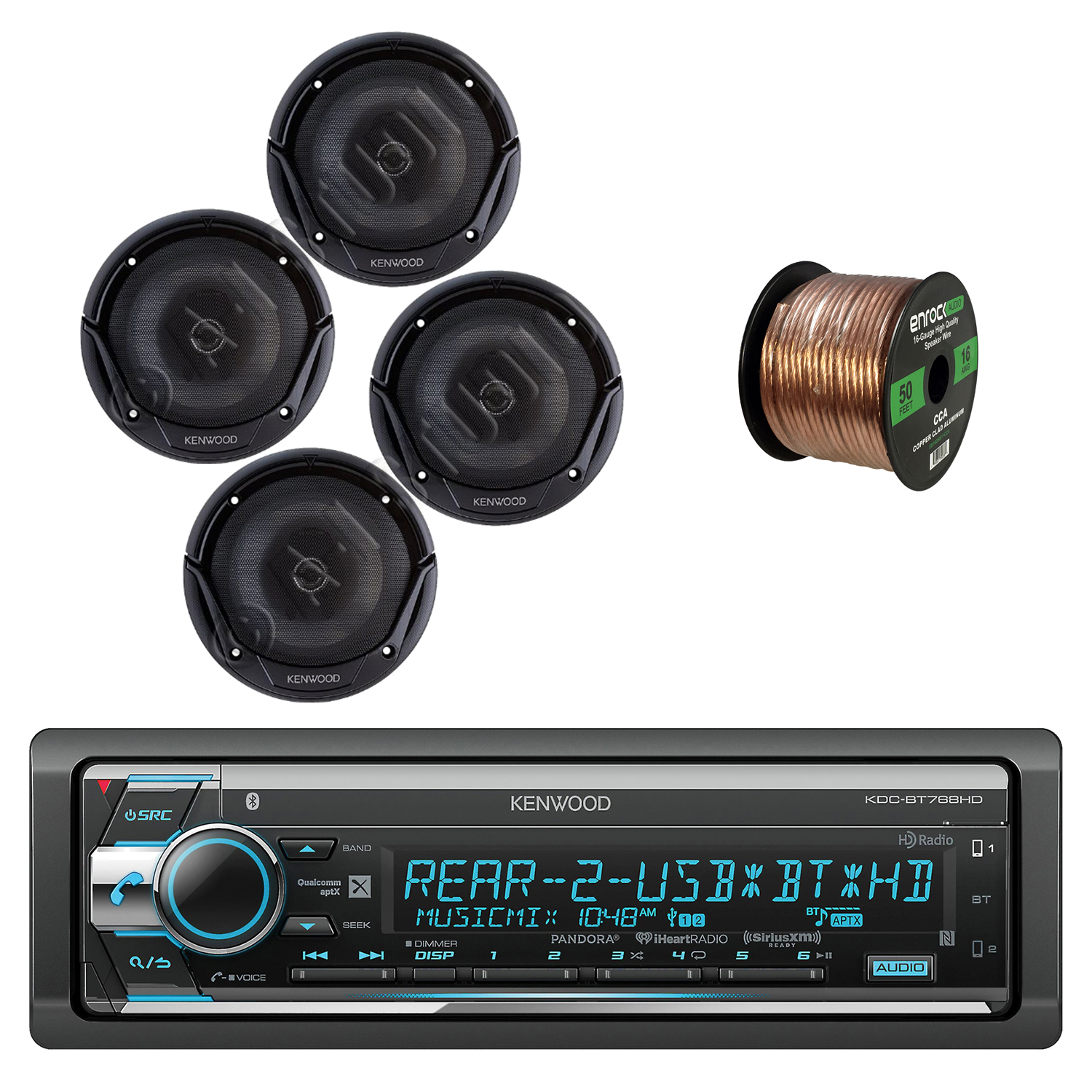 Kenwood Single Din CD/AM/FM Car Audio Receiver with Bluetooth with Kenwood Sport Series 6.5 Inch 2-Way Flush Mount Coaxial Car Speakers 2-pairs and Enrock Audio 16-Gauge 50 Foot Speaker Wire Cable