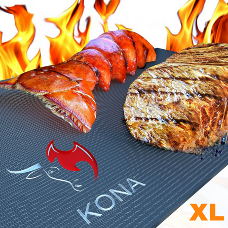 Kona XL Best Grill Mat - BBQ Grill Mat Covers The Entire Grill - Premium Non-Stick