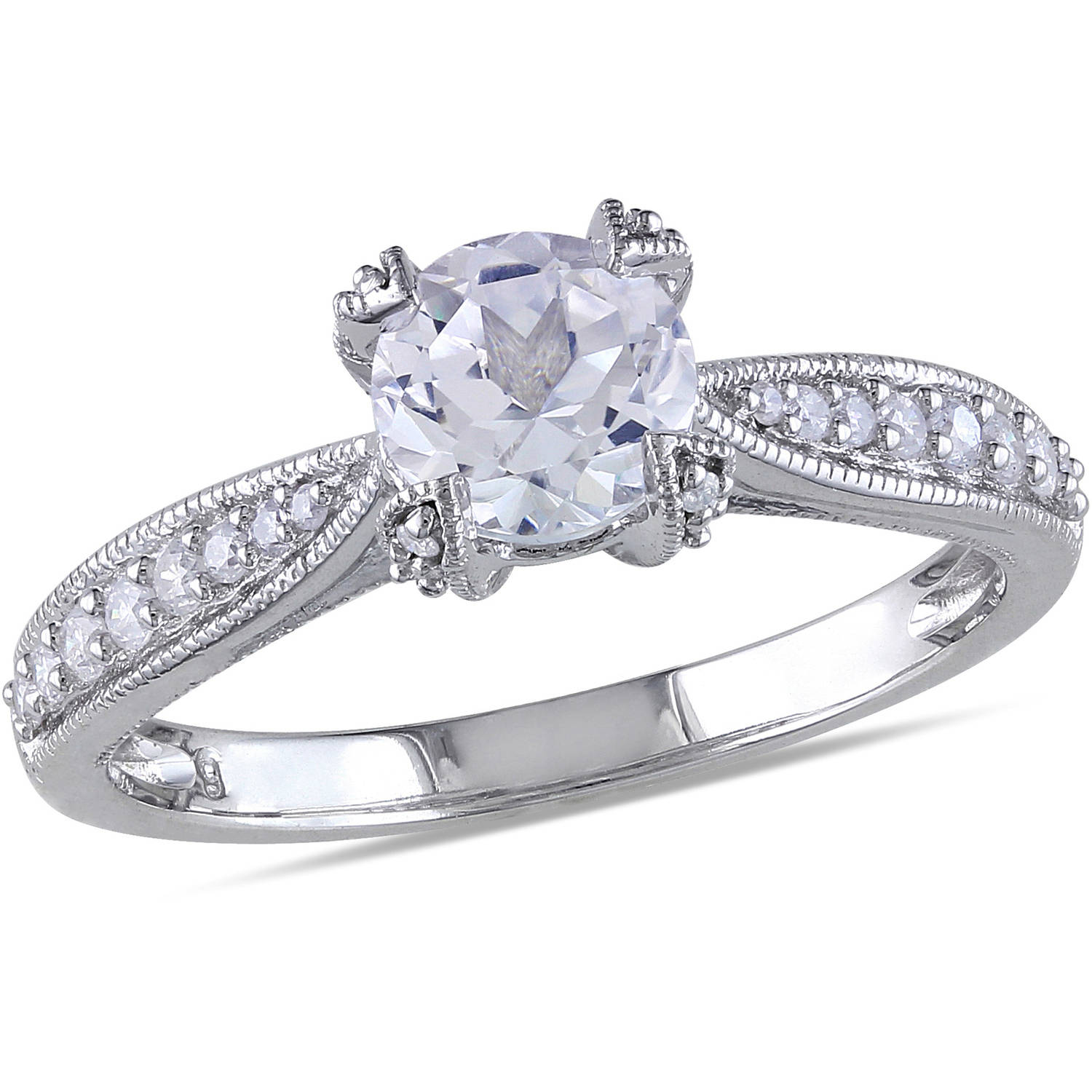 Miabella 1 5 Carat T.W. Diamond and 1 Carat T.G.W. Created White Sapphire Sterling Silver Engagement Ring by Generic