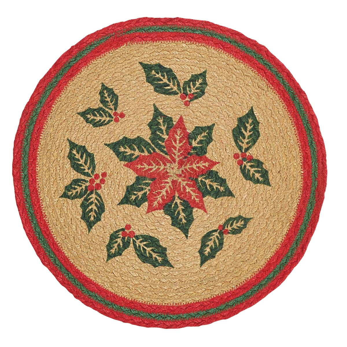 Natural Tan Seasonal Decor Poinsettia Jute Stenciled Floral   Flower Round Tablemat Set of 6 by Ashton & Willow