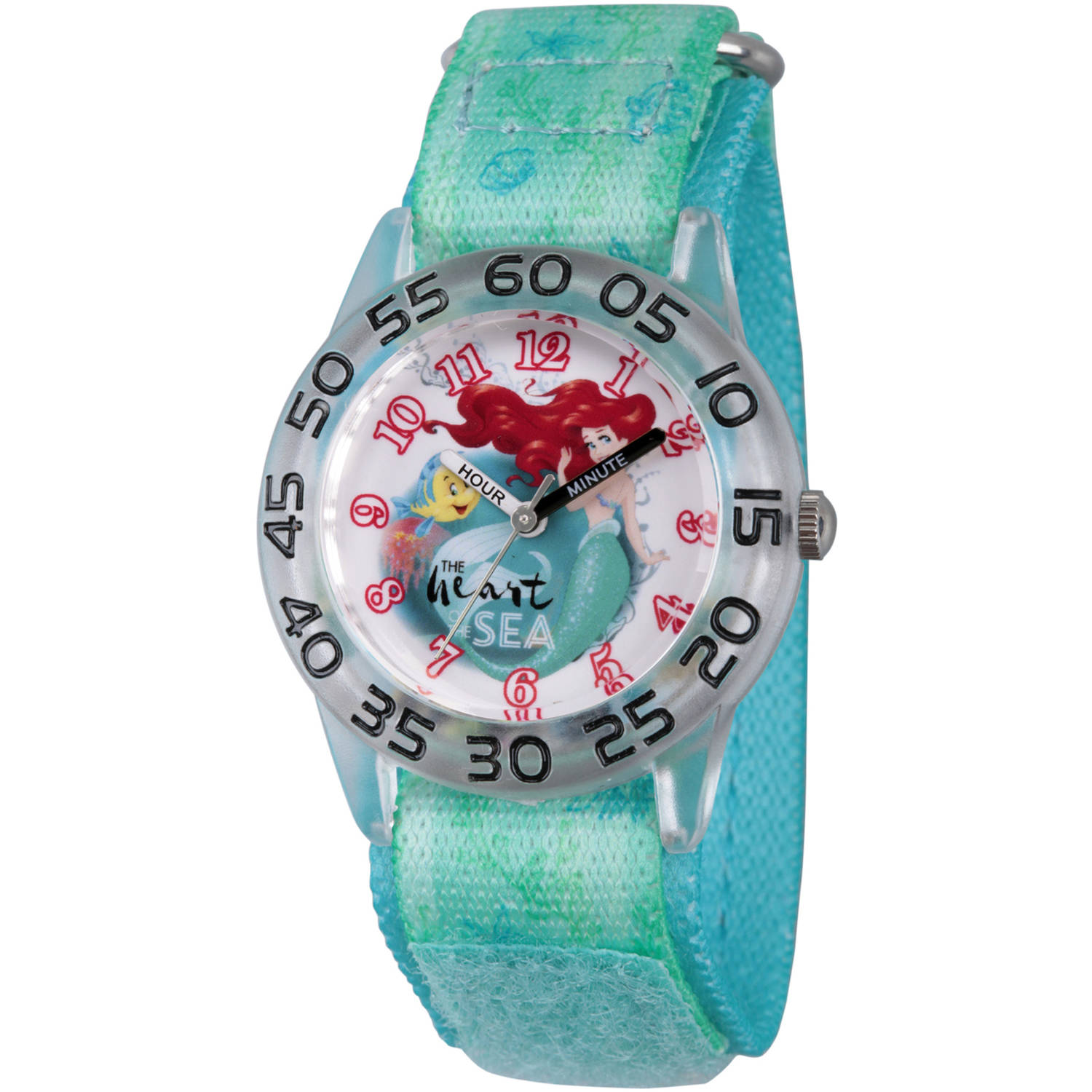 Princess Ariel and Flounder Girls' Clear Plastic Time Teacher Watch, Green Hook and Loop Stretch Nylon Strap with Printed Ariel