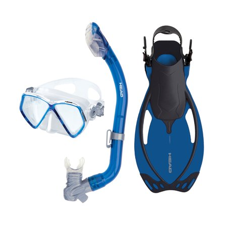HEAD Pirate Dry Youth Blue Snorkeling Scuba Mask Flippers Set w/ Travel Bag,
