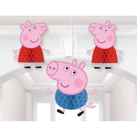 Peppa Pig Honeycomb Decoration (3 Pieces) - Party Supplies - Pepper Pig Birthday