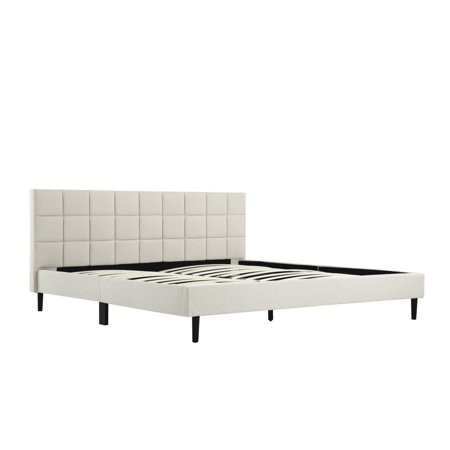 Kyoto King Bed (BELLEZE Full Queen King Size Bed Frame Tufted Headboard Platform Bed Frame w/ Wood Slat Support Cream Gray )