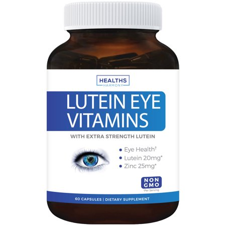 Lutein Eye Vitamins (NON-GMO) Vision Support Supplement for Dry Eyes & Vision Health Care - Bilberry - Proudly Made in the USA - 100% Money Back Guarantee - 60 (Best Vitamins For Dry Eyes)