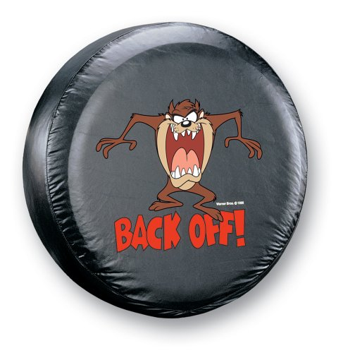 """Taz """" Back Off!"""" Spare Tire Cover, Tan Fits Come usALL Size Go NOE8FH4F854123938 Cartoon Black Taz down Trailer cover Vehicle 10x32 Covers sizes contact Back from 2628.., By Plasticolor"""