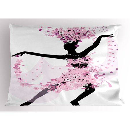 Latin Pillow Sham Silhouette of a Woman Dancing Samba Salsa Latin Dances Spain and Mexico Culture Print, Decorative Standard Size Printed Pillowcase, 26 X 20 Inches, Pink Black, by - Dancing Silhouette