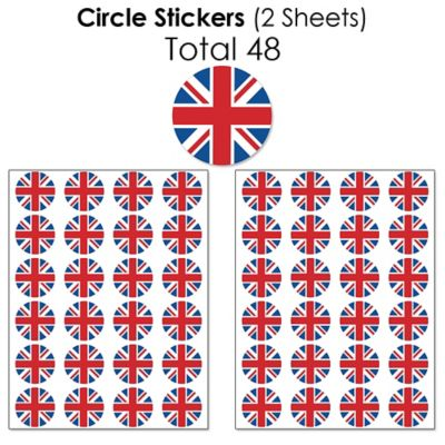 British UK Party Small Favors Cheerio London Mini Candy Bar Wrapper Stickers 40 Count