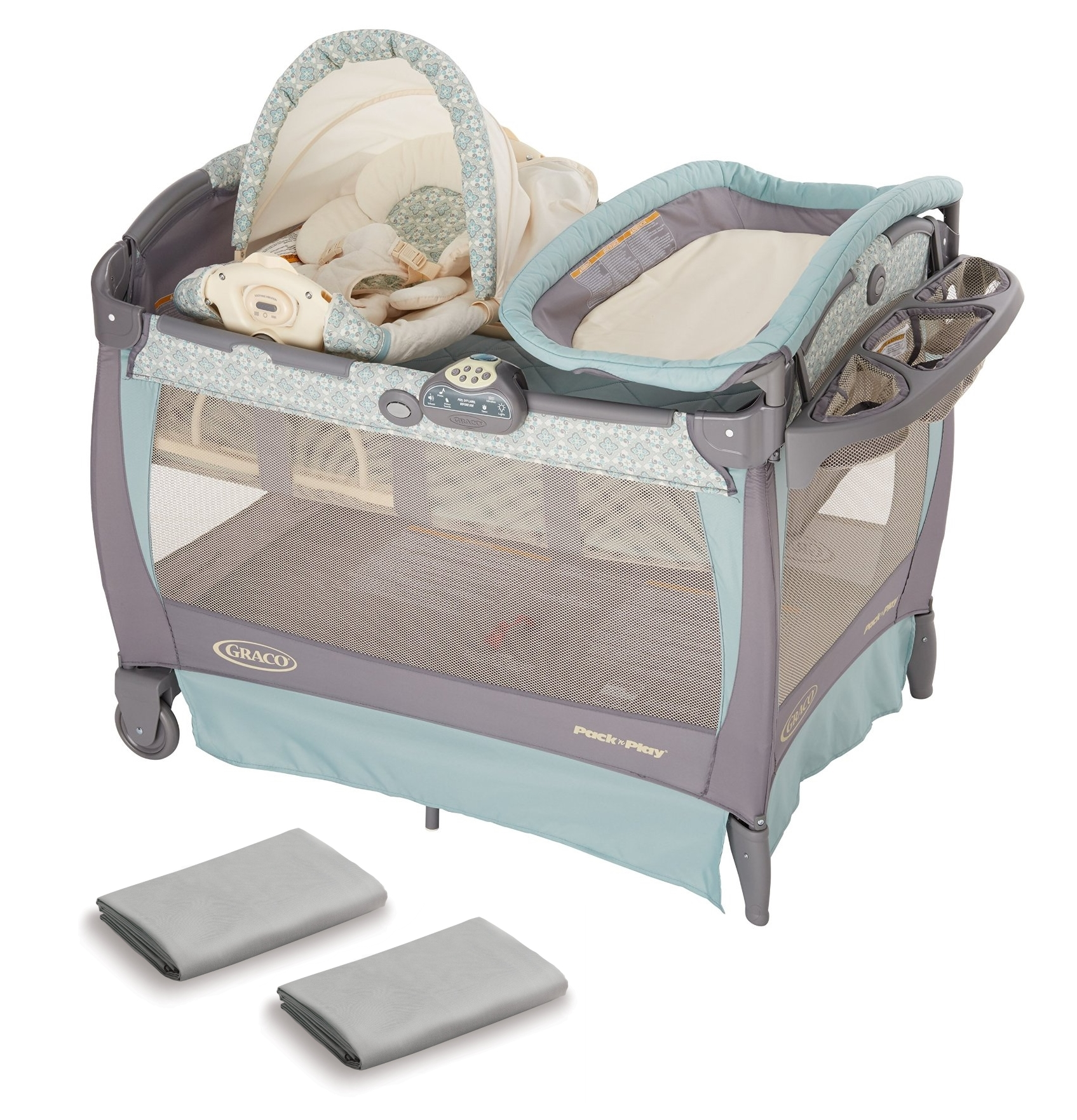 Graco Pack N Play Play Pen Bassinet Changer with Cuddle Cover Rocking Seat & SHeets by Graco