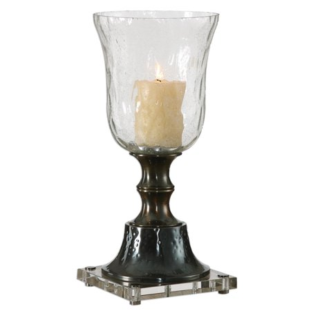 """22"""" Decorative Oxidized Bronze with Crystal Base and Water Glass Globe Pillar Candle Holder"""