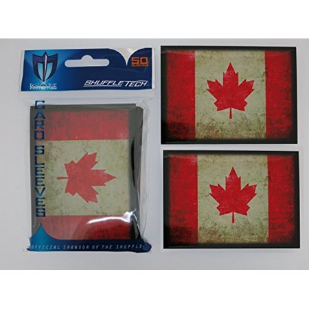 100 Max Pro Iconic Flag of Canada Maple Leaf Shuffle-Tech Sleeves (fits MTG / Force of Will) ()
