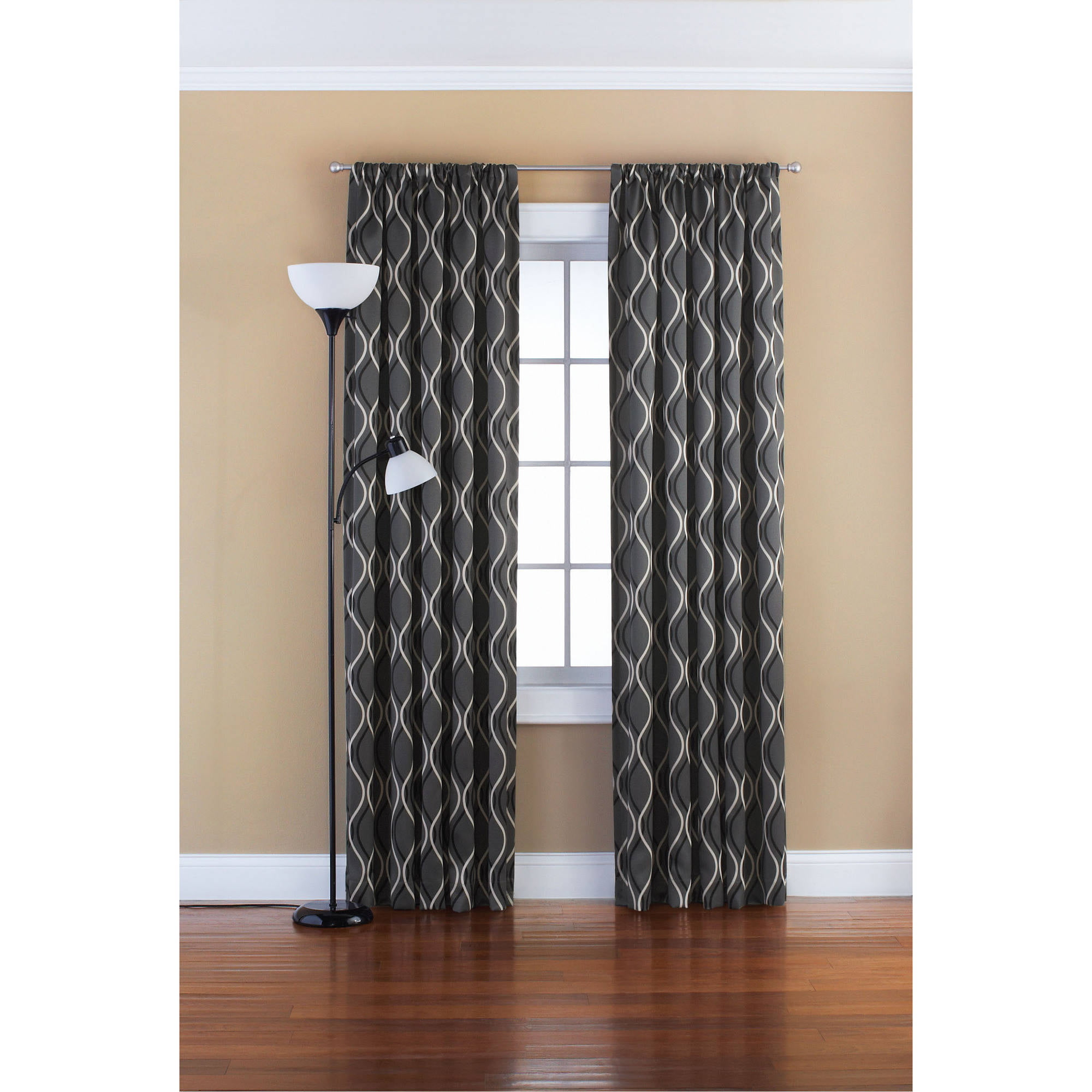 Mainstays Wave Room Darkening Polyester Curtain Panel Grey
