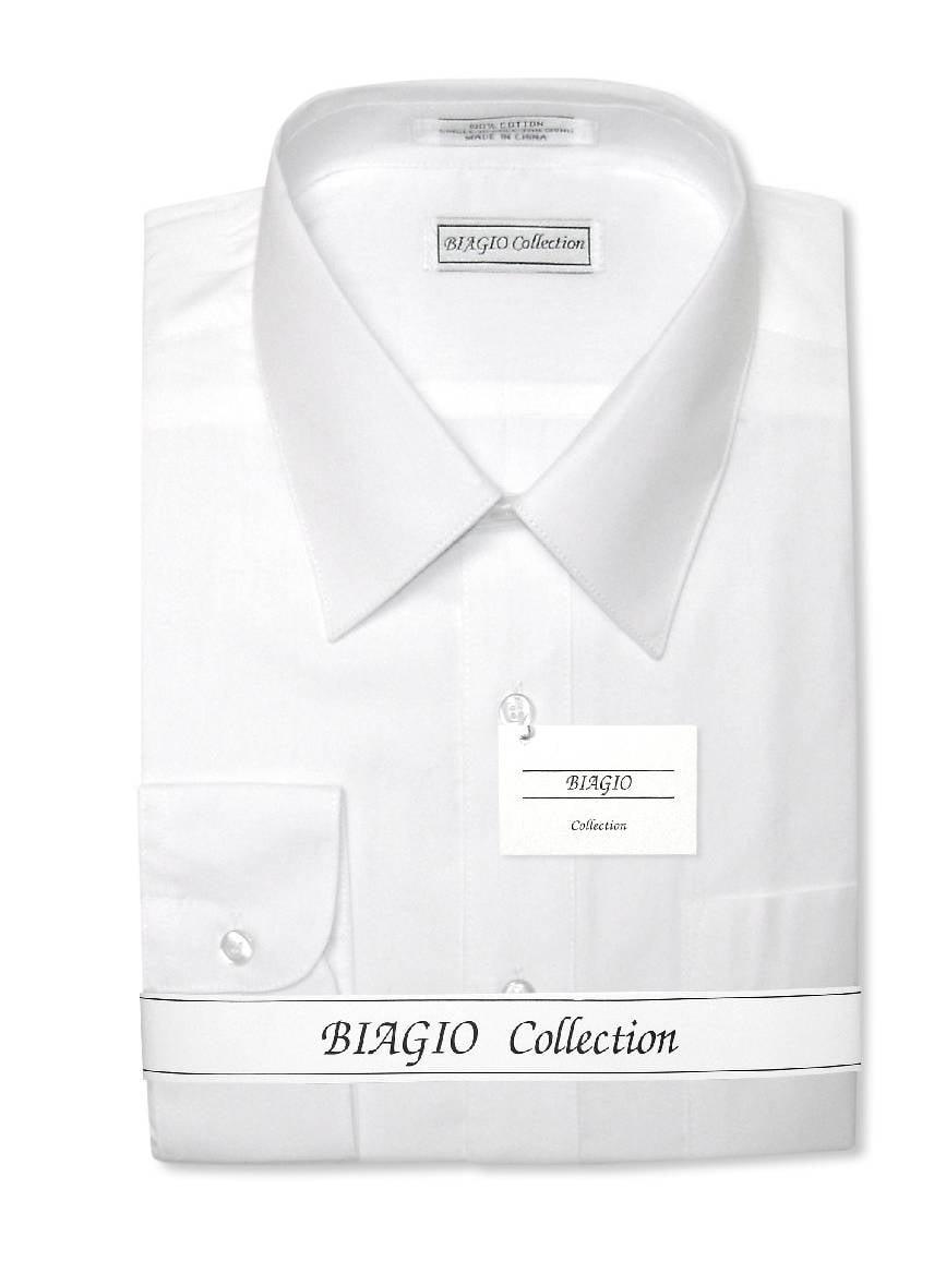 Biagio Men's 100% COTTON Solid WHITE Color Dress Shirt w/ Convertible Cuffs