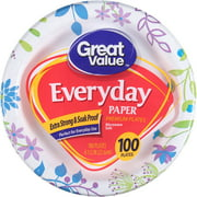 """Great Value 8 5/8"""" Heavy Duty Paper Plates, 100 ct"""