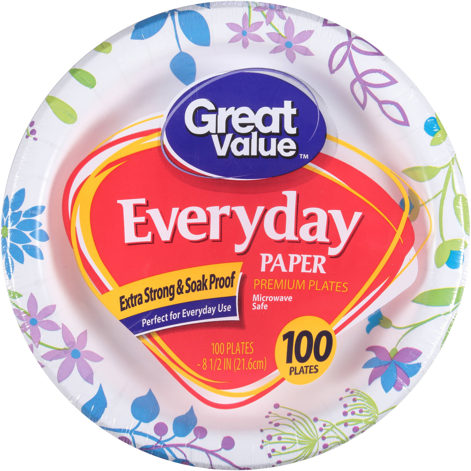 "Great Value 8 5/8"" Heavy Duty Paper Plates, 100 ct"