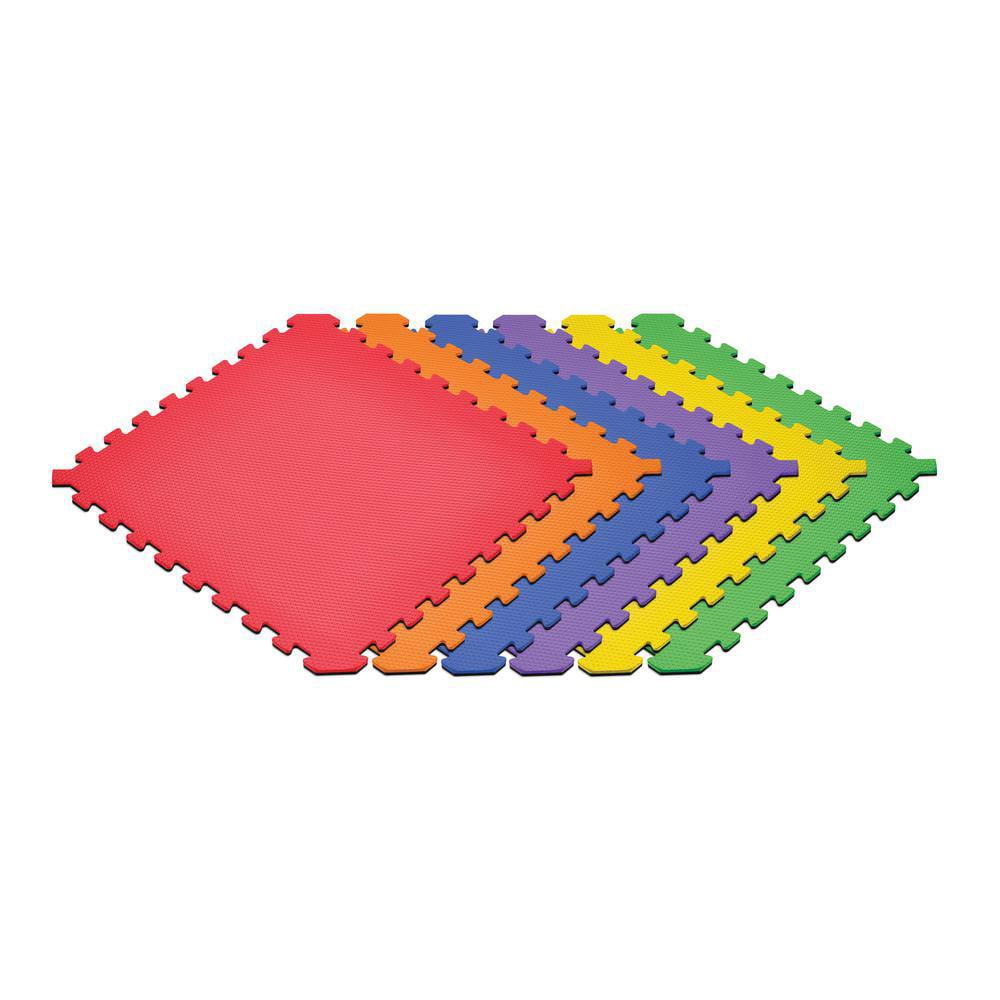 Norsk Rainbow Pack/Black 24 in. x 24 in. EVA Foam Truly Reversible Interlocking Tile (48-Tile)