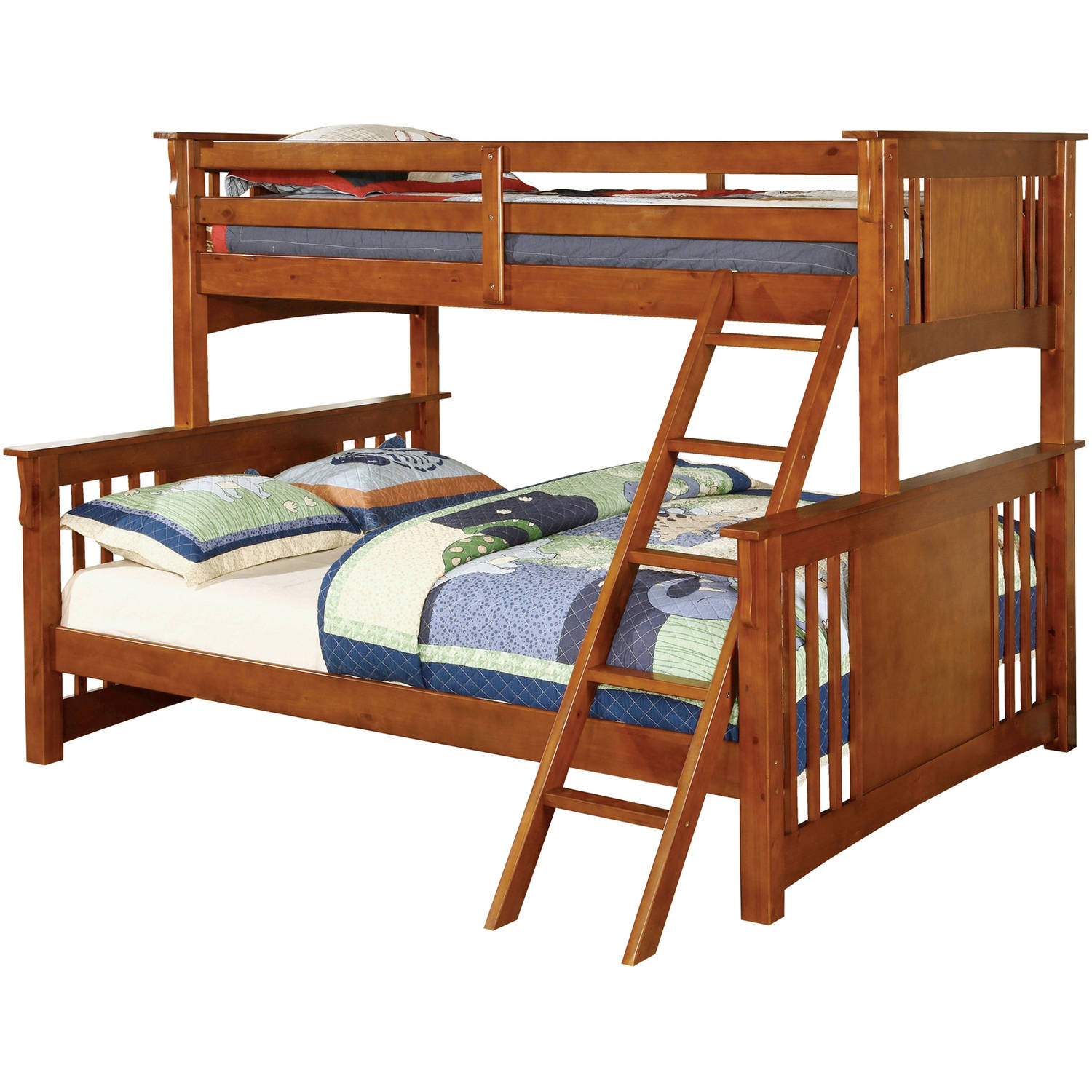 Furniture of America Harlow Twin XL Over Queen Wood Bunk Bed, Multiple Colors