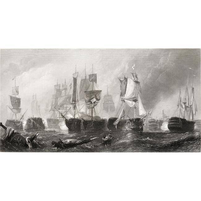 Posterazzi DPI1859913 The Battle of Trafalgar From The Picture In The Vernon Gallery Drawn by C. Stamfield Engraved by J.Cousen Poster Print, 21 x 11 - image 1 de 1