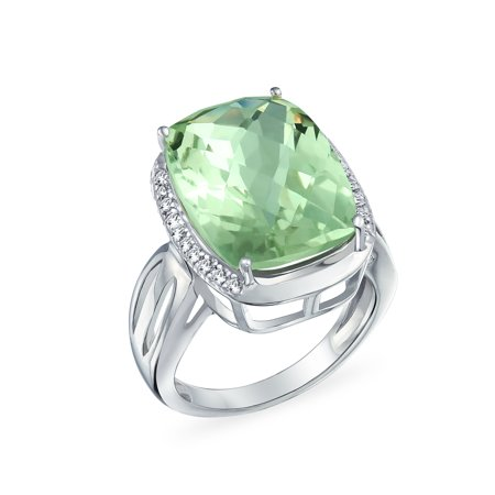 6Ct Cushion Cut Created Prasiolite Natural Zircon Accented Split Shank Gemstone Statement Ring 925 Sterling Silver