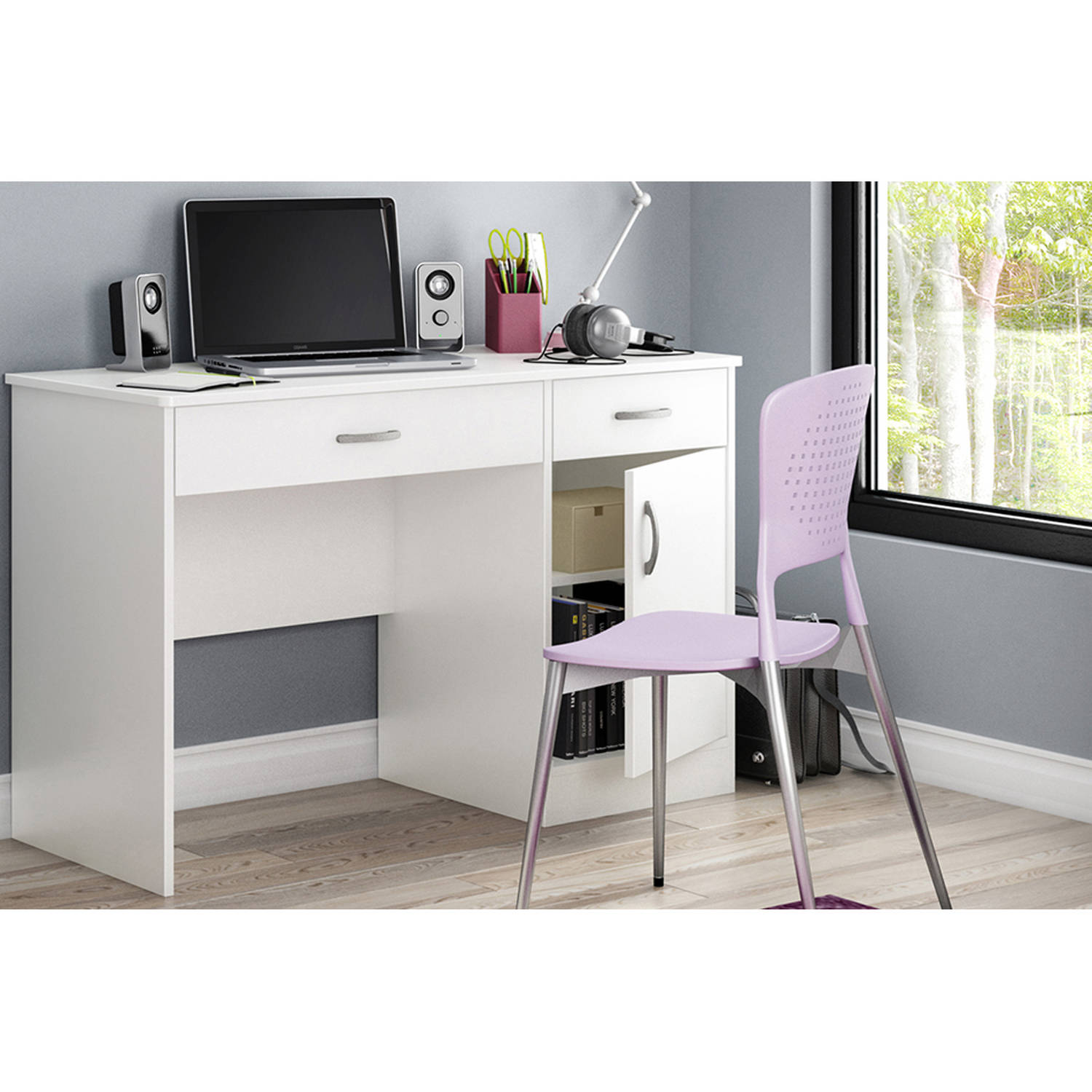 Awesome South Shore Smart Basics Small Work Desk, Multiple Finishes