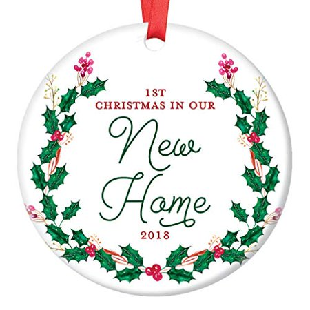 New House Ornament 2018, 1st Christmas in Our New Home Dated Year, First Homeowners Ceramic Present Congratulations Real Estate Agent 3