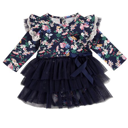 Princess Dress Outfit - Cute Baby Girls Long Flare Sleeve Floral Tutu Dress Princess Party Outfits 6-9 Months