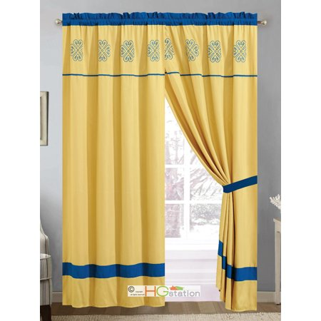 4-Pc Gabbi Striped Geometric Medallion Curtain Set Gold Yellow Blue Valance Drape Liner ()