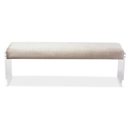 Baxton Studio Hildon Beige Microsuede Fabric Upholstered Lux Bench ()