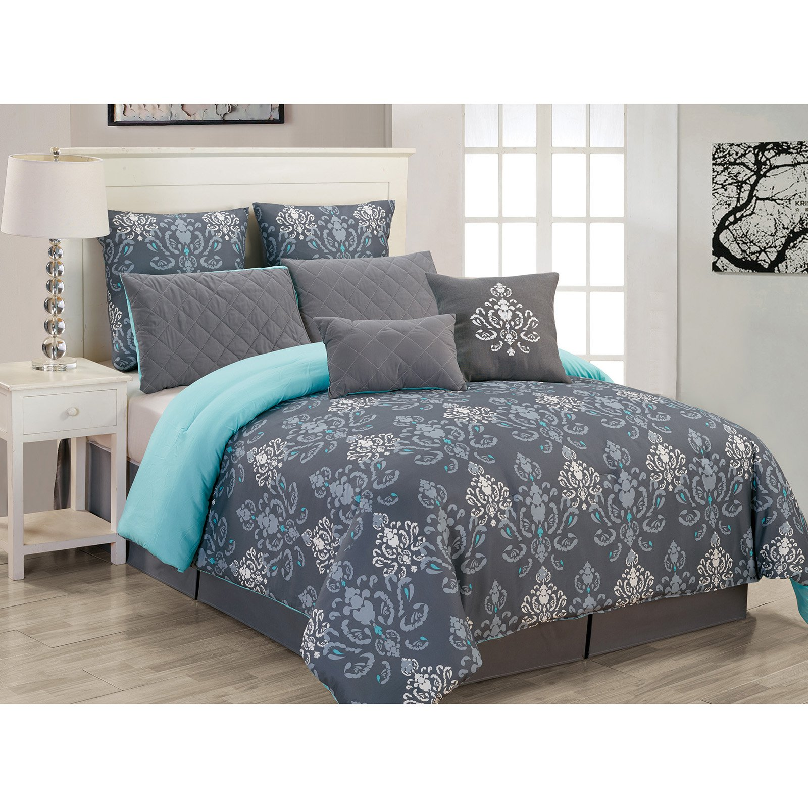 Lucienda 8 Piece Set Oversized/Over Filled Comforter Set by Duck River Textile