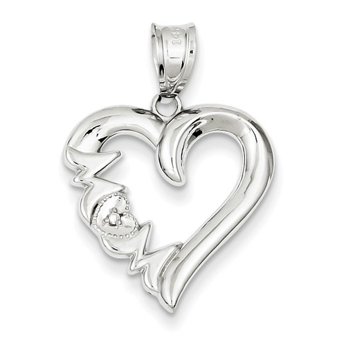 14k White Gold Diamond Satin Polished Mom Heart Pendant